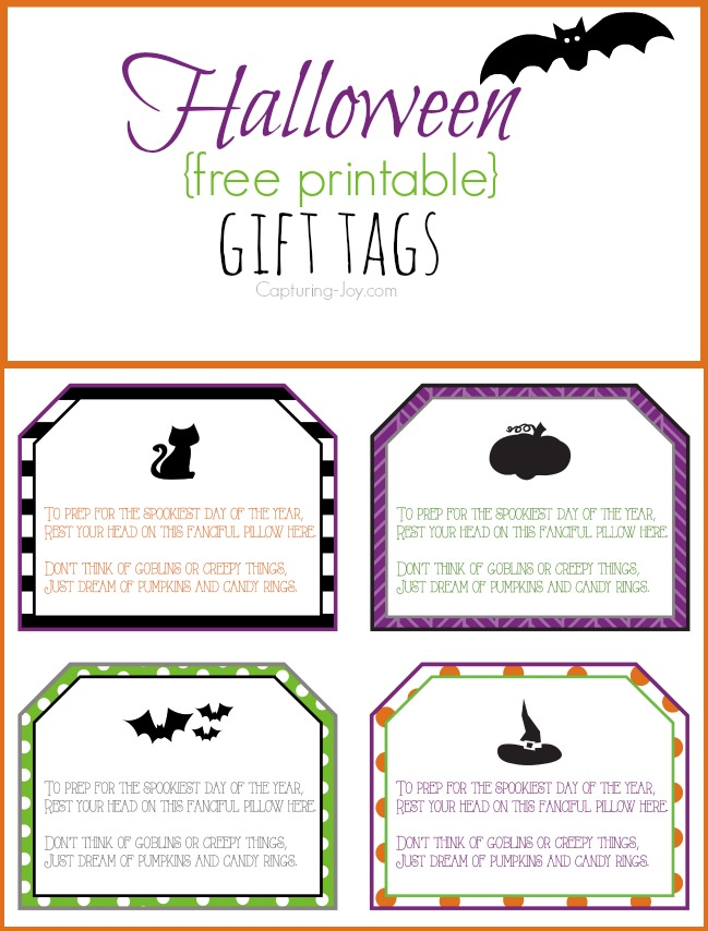Halloween pillowcase and gift tag idea halloween free printable gift tags negle Image collections