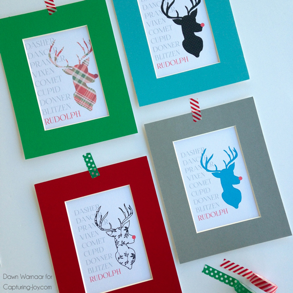 FREE Patterned Reindeer Printables in 4 design options and 2 sizes!