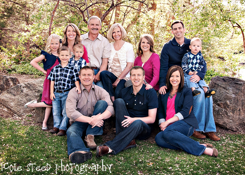 pink and blue clothes in family photography