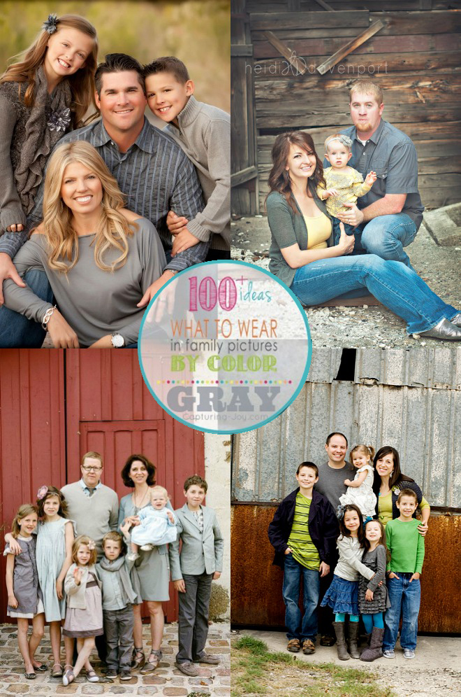 Family Picture Clothes By Color Gray