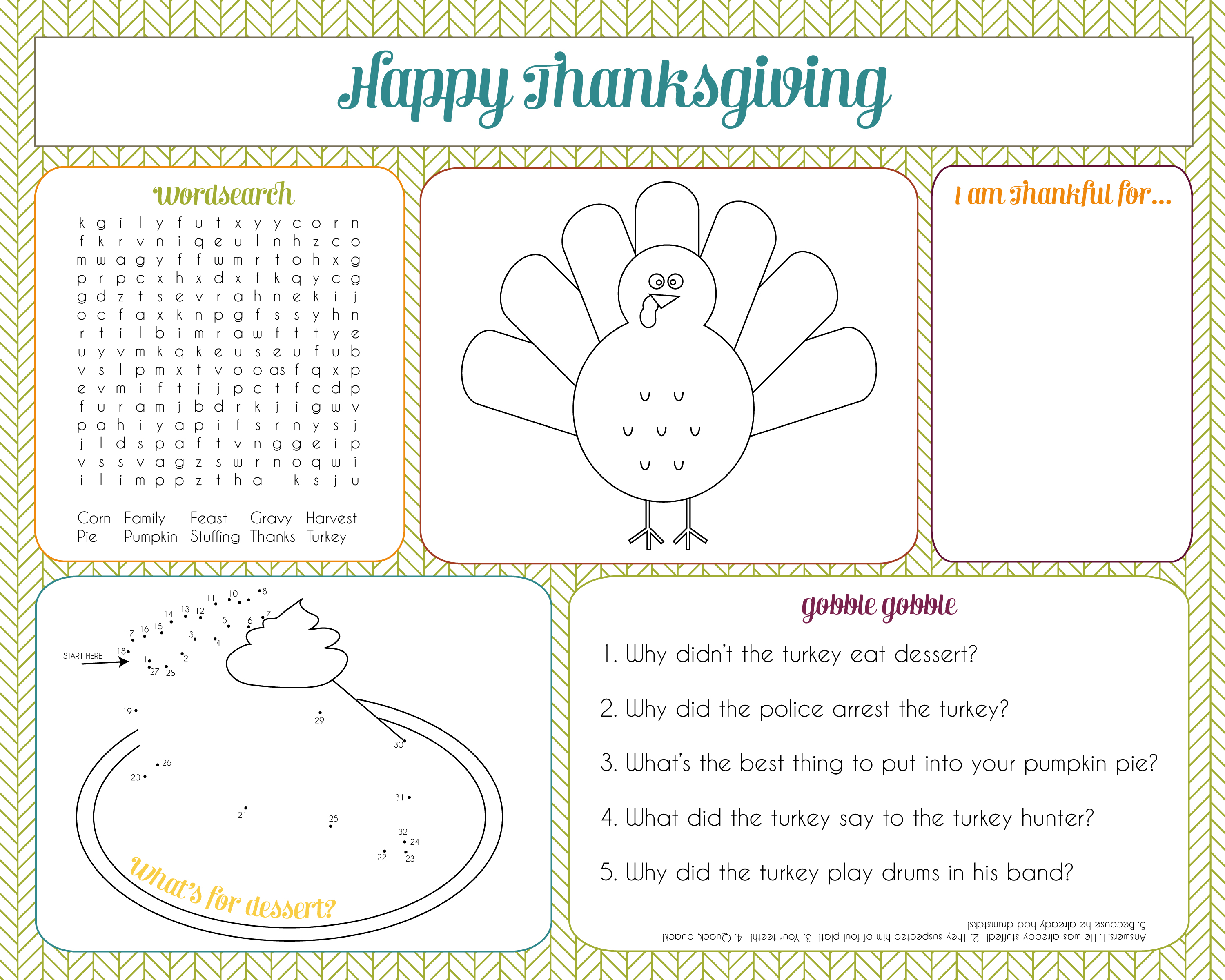 Thanksgiving Activity for Kids - Thanksgiving Activity Placemat