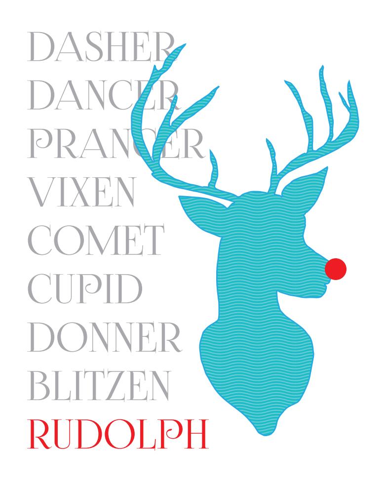 Rudolph blue reindeer print