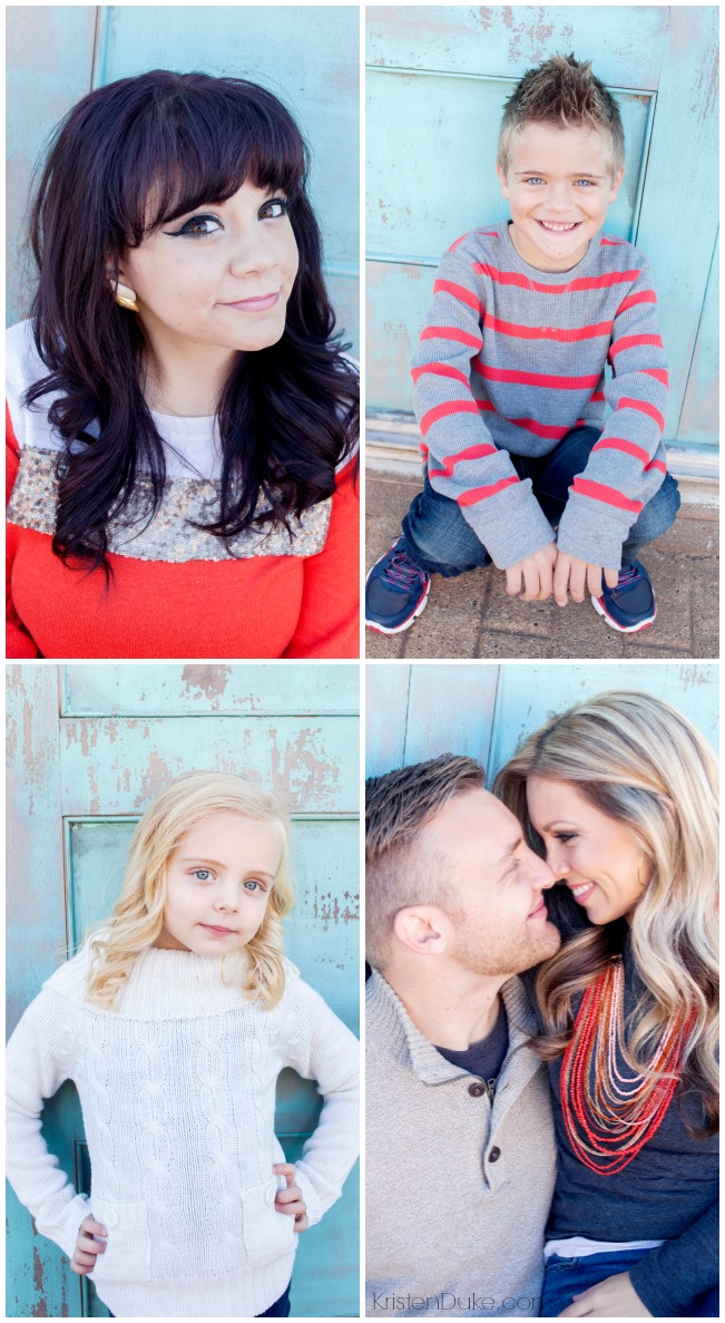 Family PIctures in orange and navy blue
