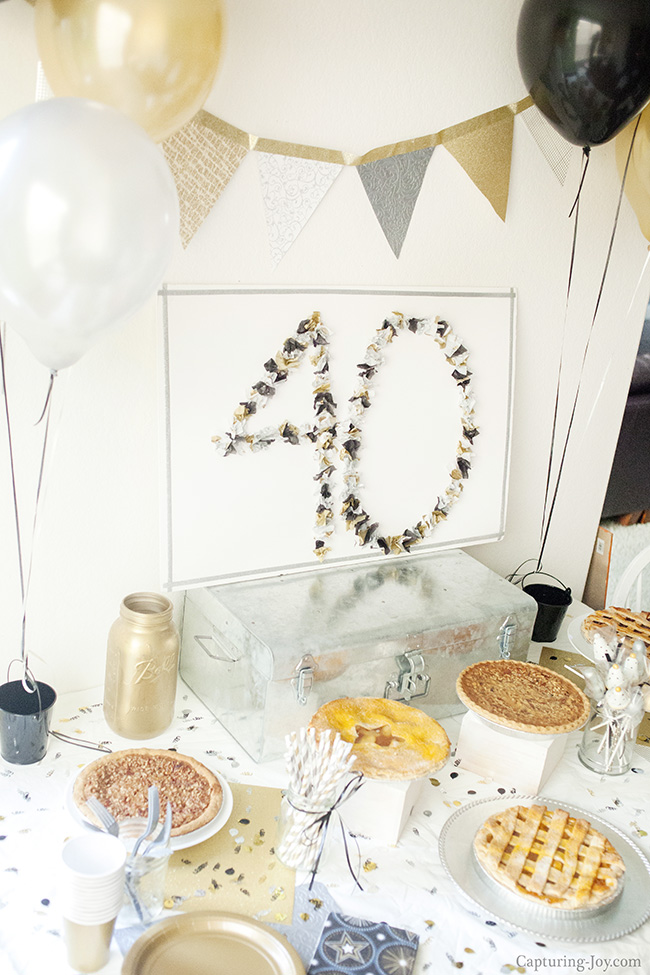 gold and black 40th birthday party ideas