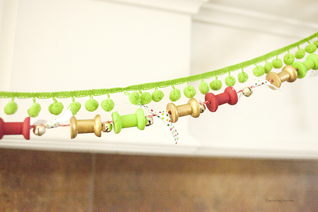painted spool christmas garland