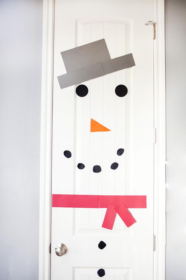 snowman on a door