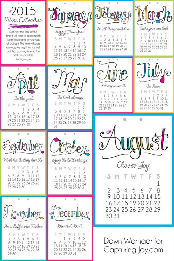 free 2015 printable mini calendar with a different motivational message each month