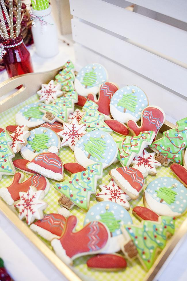 Christmas tree and santa hat cookie