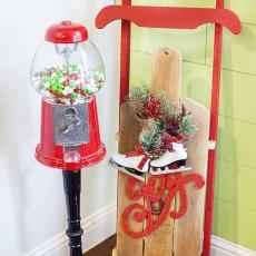 Christmas gumball machine and diy sled