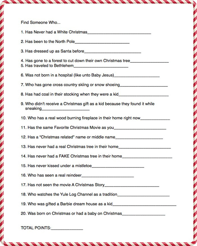 Get to Know you Christmas Game