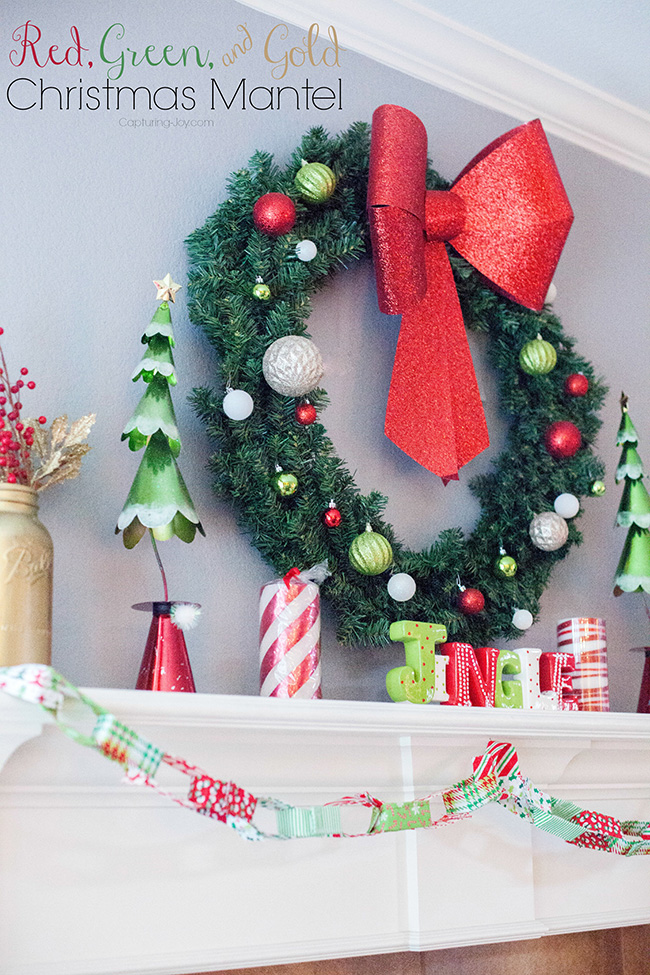 Red, Green, and Gold Christmas Mantel
