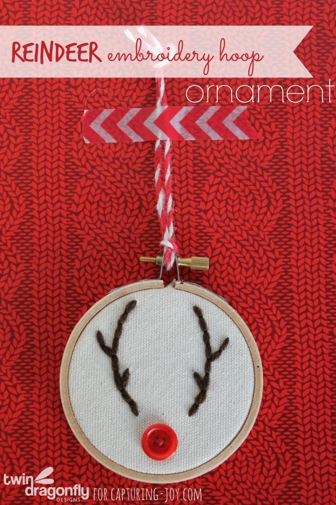 Reindeer embroidery hoop handmade christmas ornament
