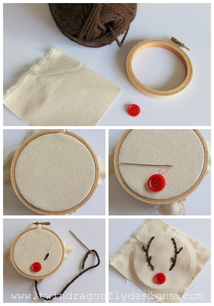 Embroidery Hoop Ornament supplies muslin yarn embroidery hoop red button