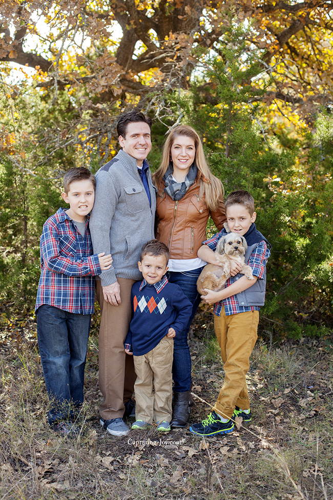 Brown and navy blue family picture clothes