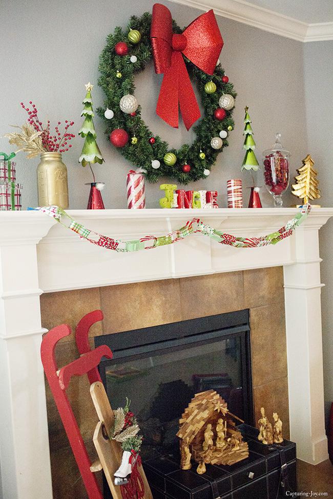 fun and colorful Christmas Mantel