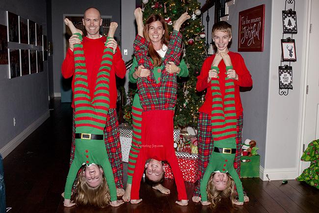 handstands in christmas pajamas