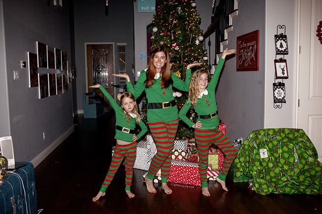 mom and girls in christmas jammies