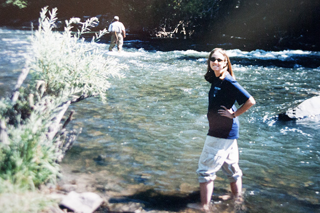 wading in the Provo river near BYU