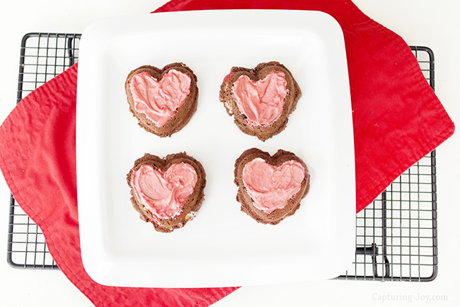 candy topped heart shaped brownie