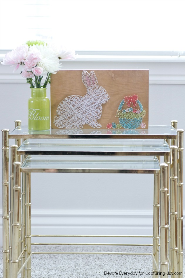 Easter bunny string art on display