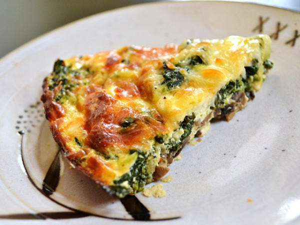 Spinach and Mushroom Crustless Quich wedge plus 19 other Egg Recipes on Capturing-Joy.com