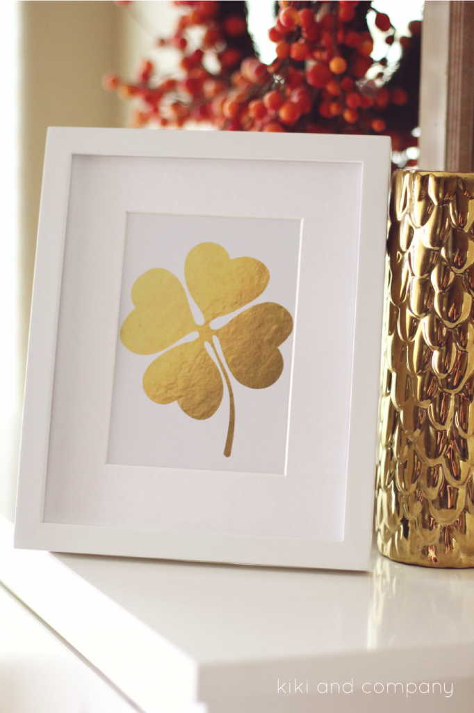 St. Patrick's Day ideas - Gold Four Leaf Clover Print