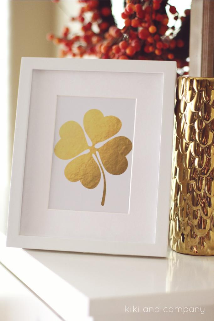 St. Patrick's Day ideas - Gold Four Leaf Clover Print