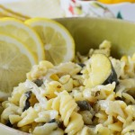 This Gluten Free Creamy Kale and Capers Lemon Pasta is an easy 30 minute dinner that is full of summer squash, mushrooms, kale, capers, and lemon flavor.