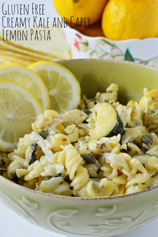 Gluten Free Creamy Kale And Capers Lemon Pasta