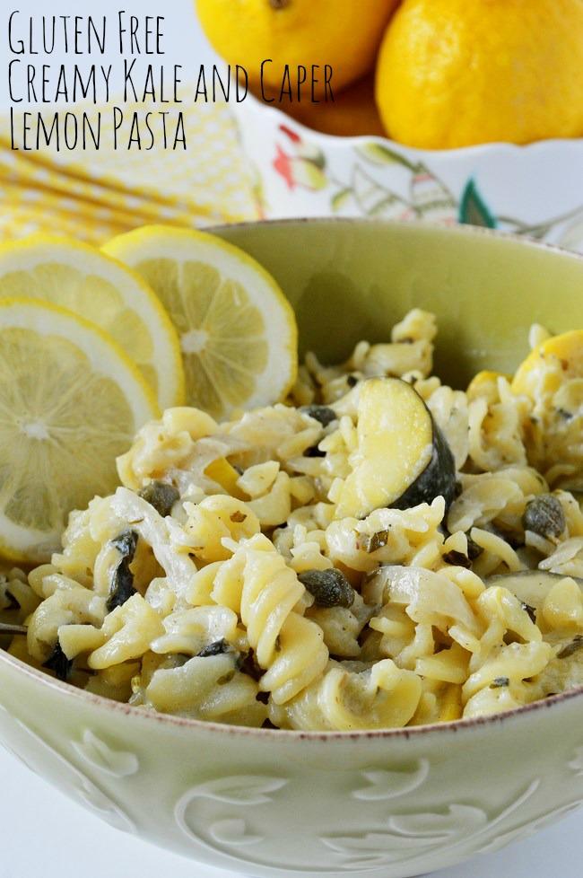 gluten free creamy kale and caper lemon pasta