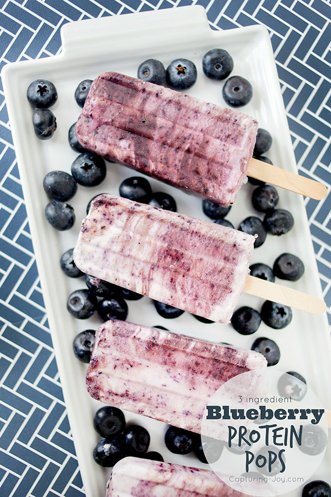 3 ingredient Blueberry Protein Pops recipe, the perfect summer treat!