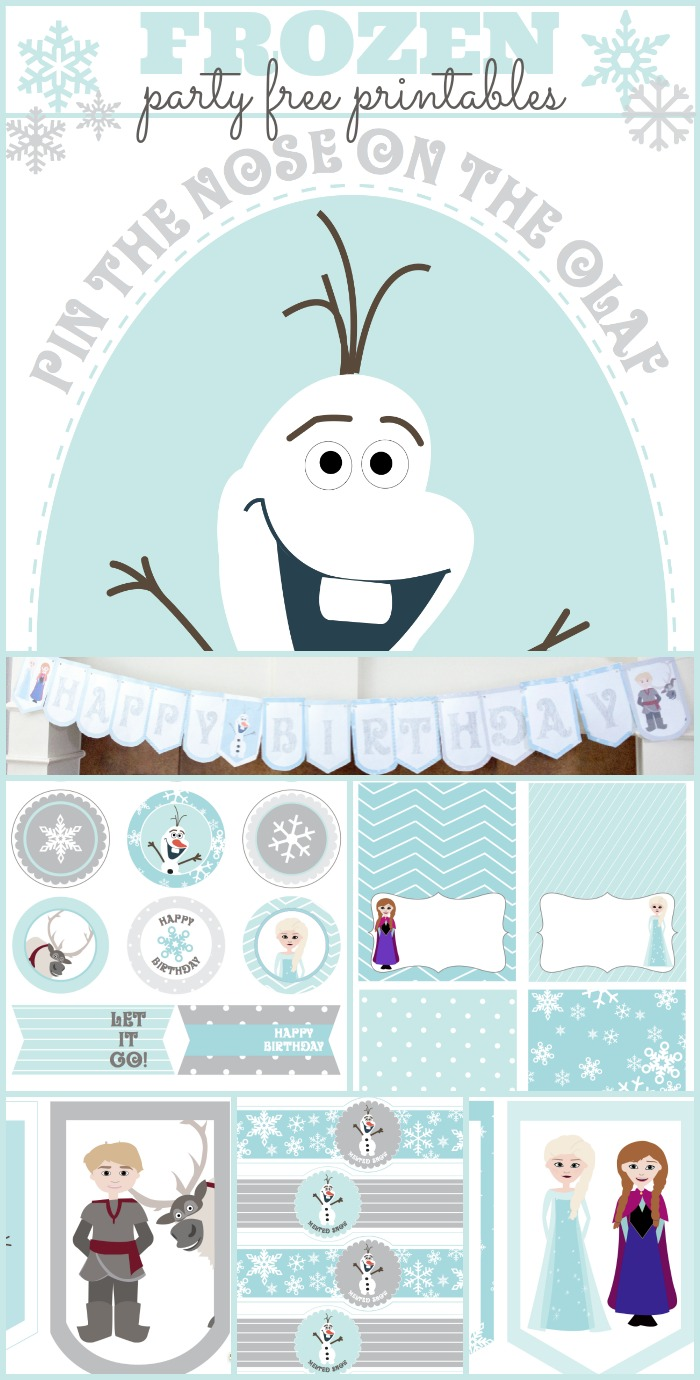 Frozen party free printables with pin the nose on Olaf, water bottle ...