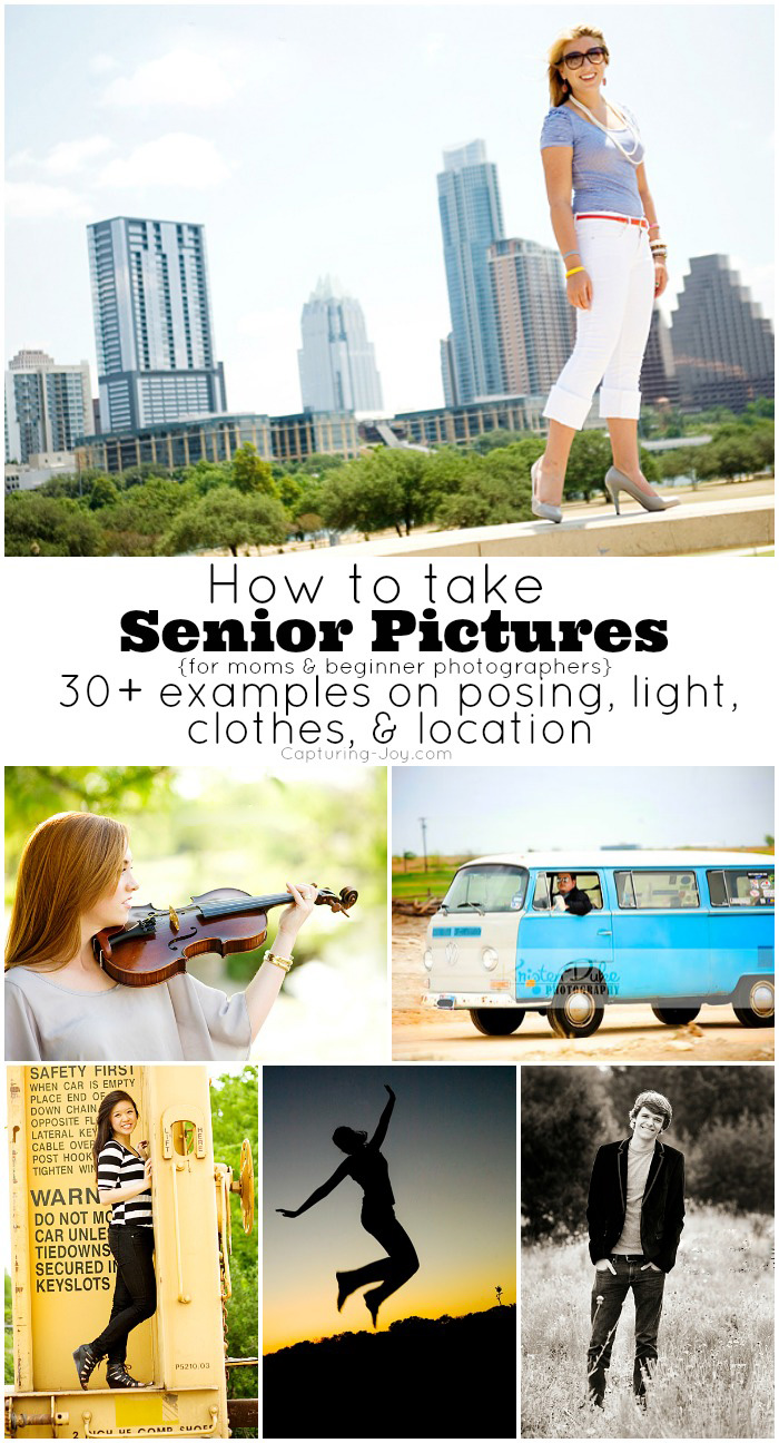How to Take Senior pictures with examples for moms and beginner photographers on posing, light, clothes, and location