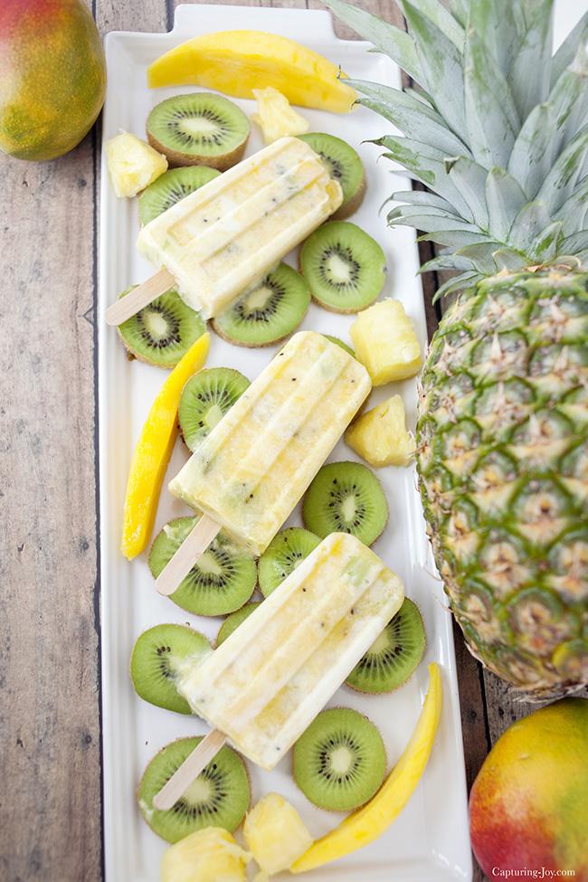 Kiwi Mango Pineapple Protein popsicle