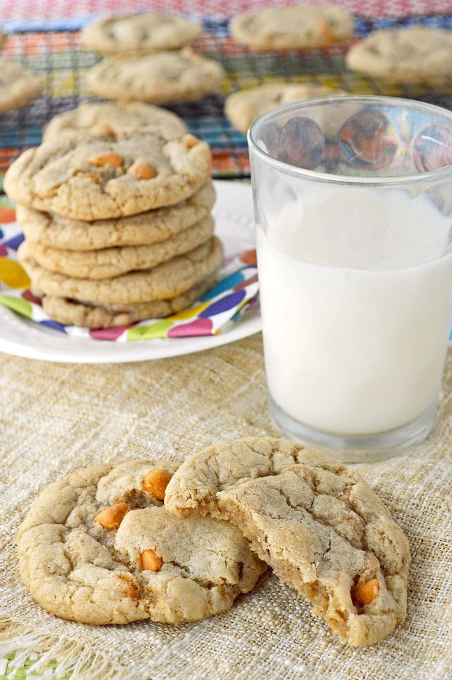 Soft and chewy gluten free cookies with smooth milk chocolate chips and a handful of sweet butterscotch morsels using Cup 4 Cup Gluten Free Flour.