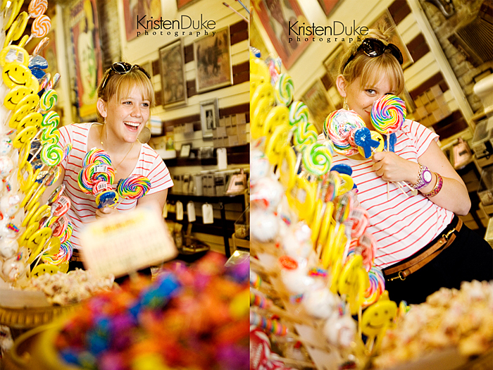 senior pictures in a candy shop