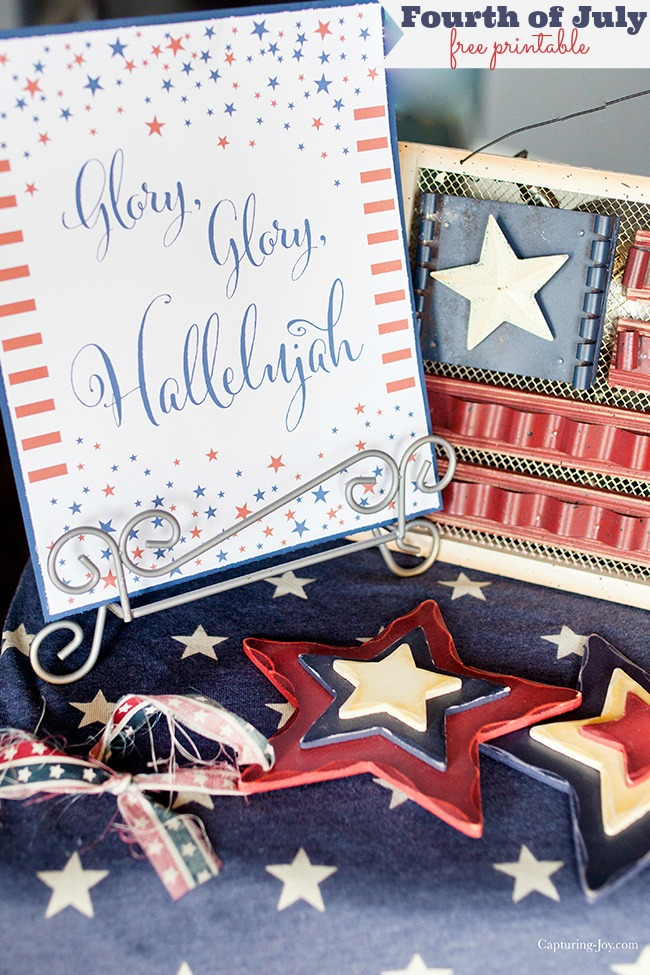 Fourth of July Printable Glory Glory Hallelujah