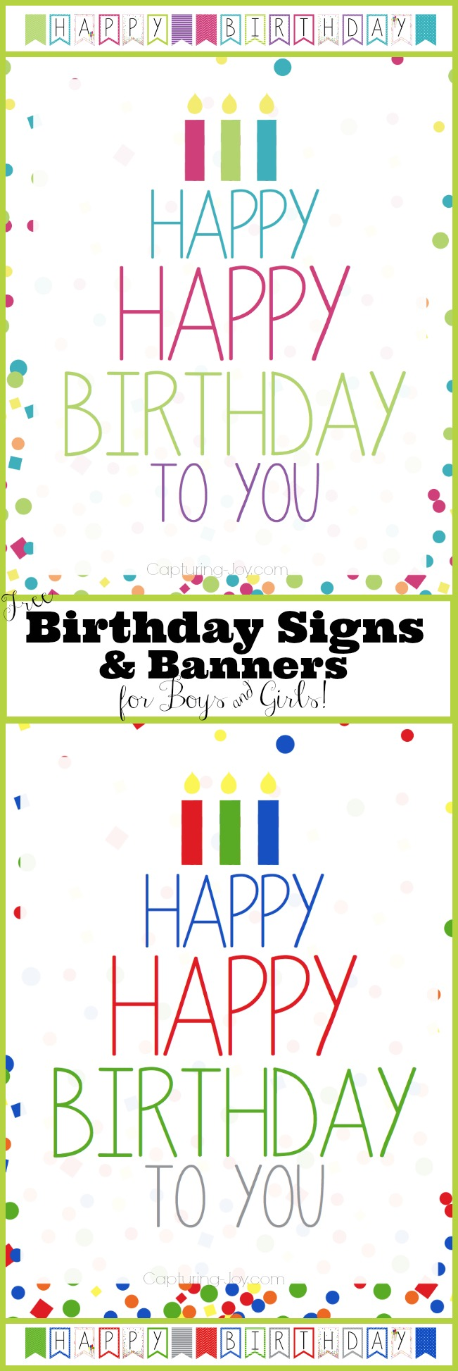 Free Birthday Signs and Banners for Boys and Girls