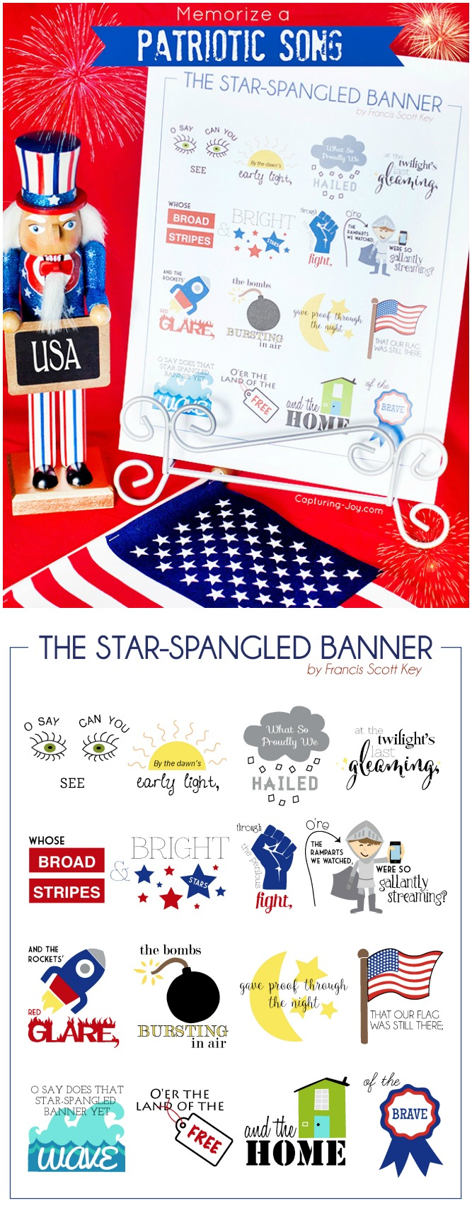 Help your kids memorize the a patriotic song The star spangled banner for July 4th