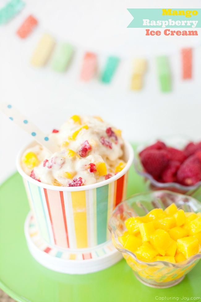 mango ice cream with raspberries