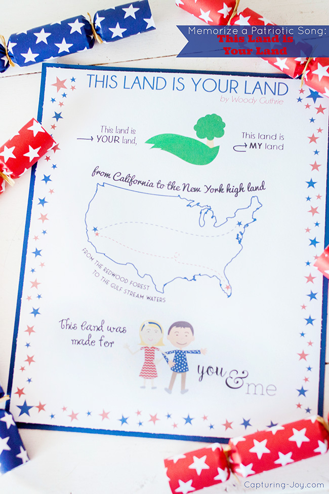 Memorize a Patriotic song This Land is your Land