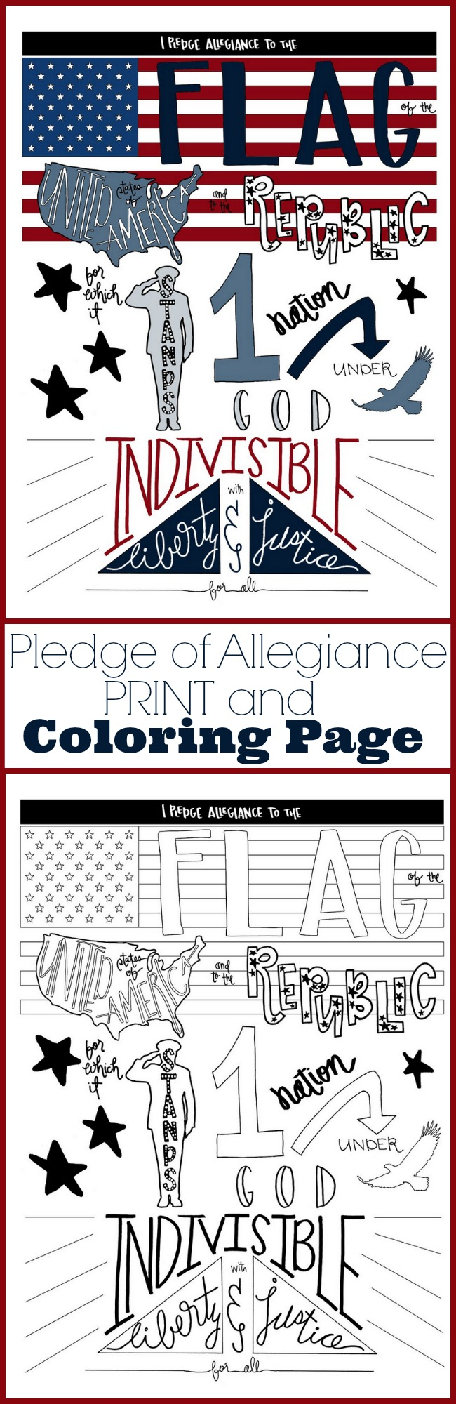Pledge of Allegiance Print and Coloring page for 4th of July Patriotic craft idea