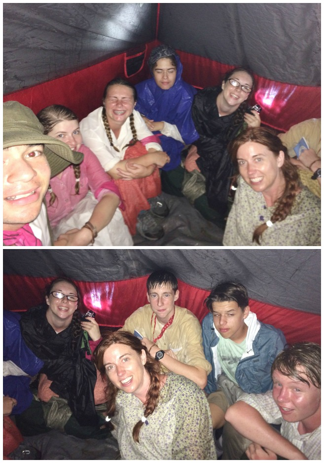 camping in a tent through a rainstorm