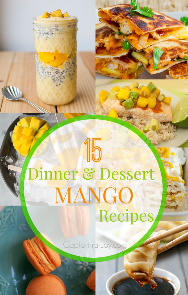 15 of the best Mango Dinner and Dessert Recipes!  Capturing-Joy.com