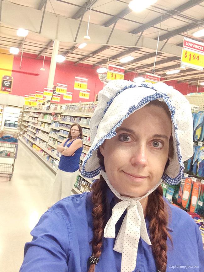 pioneer selfie in grocery store