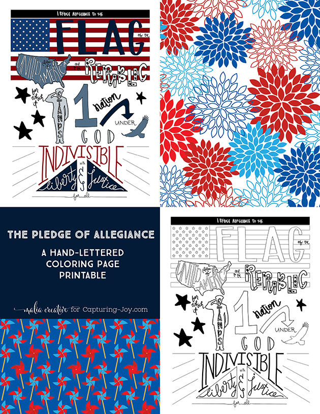 A HandLettered PLEDGE OF ALLEGIANCE