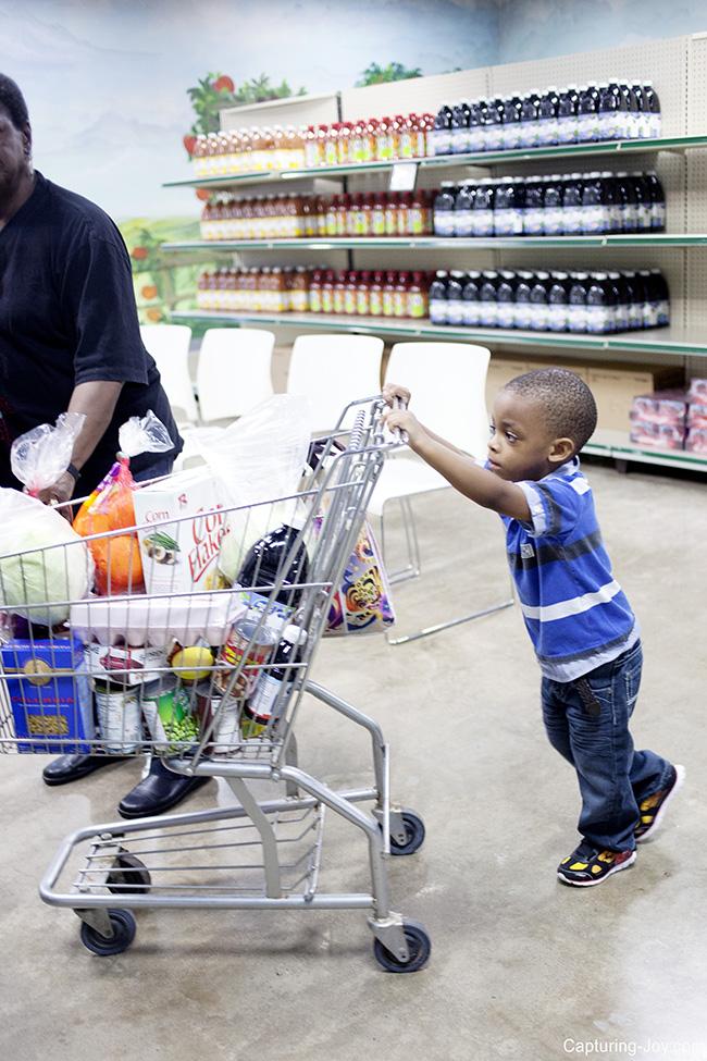 pushing the cart