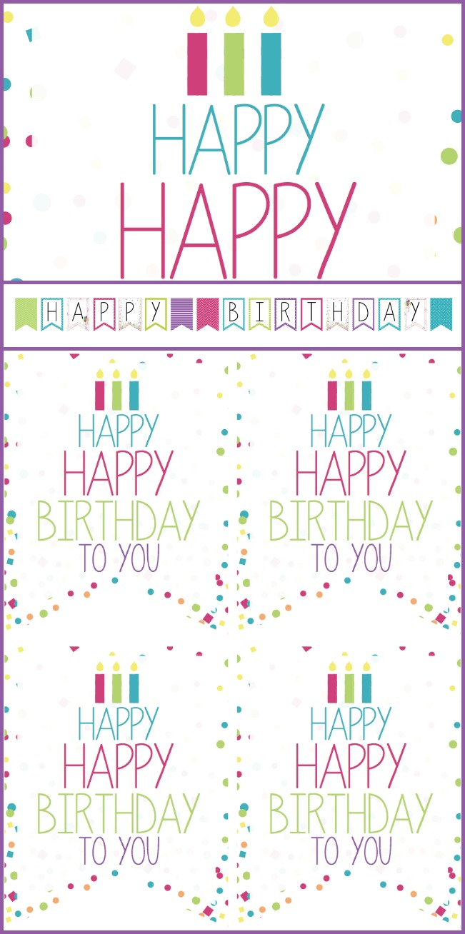 Birthday printable sign, banner, and tags for girls birthday (boys also available)