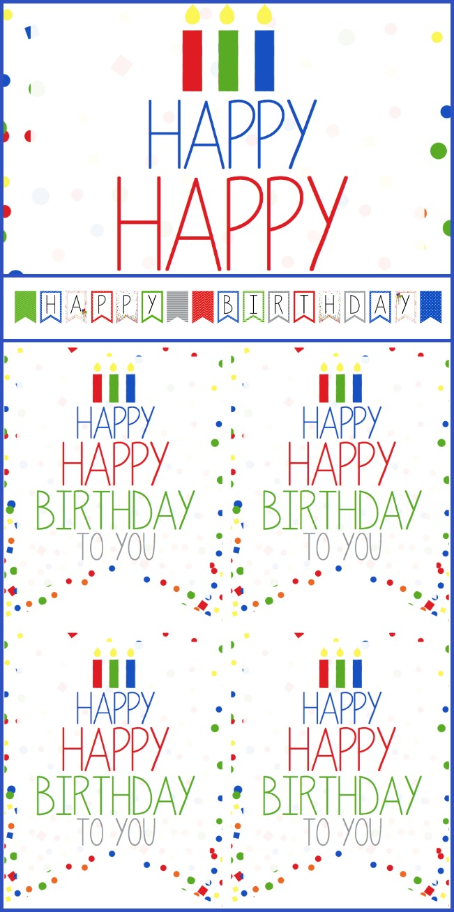 Birthday sign, tags, and banner printables for boys, another color scheme for girls available