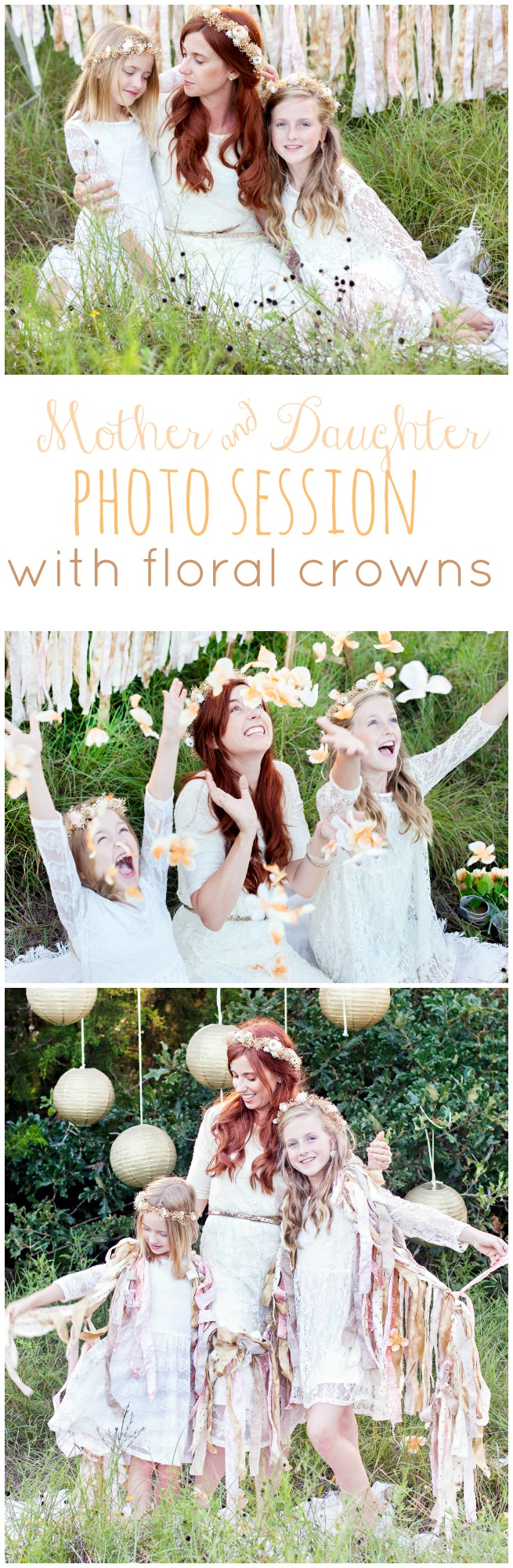 Mother and Daughter photo session with floral crowns